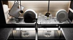 Valcucine Sine Tempore modular kitchen system; oak; drainage board behind the sink