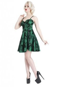 Women's Voodoo Vixen Peacock Flocked Taffeta Short Party Dress Green Rockabilly #VoodooVixen #dresses