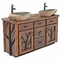 ] Rustic Wood Bathroom Vanity Inch Log Cabin Vanity Log Vanity With Stone Sinks Woodland Creek Furniture Vanities Rustic Bathroom Vanities Barnwood Vanities Rustic Bathroom Sinks, Rustic Bathroom Designs, Primitive Bathrooms, Bathroom Ideas, Modern Bathroom, Country Bathrooms, Bathroom Signs, Bathroom Storage, Small Bathroom