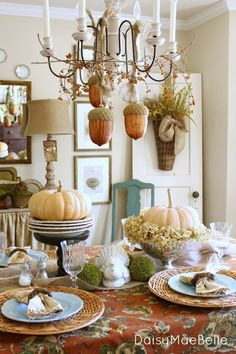 Fall Dining Room; like the silver pedestal bowl with the pumpkin and dried hydrangeas. Can use Don's mom's silver.