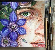 Kunst Zeichnungen - И хотя цветы меня прям выбесили 😒😣все же с. Art Drawings Sketches, Cool Drawings, Watercolor Portraits, Watercolor Paintings, Watercolour, Arte Sketchbook, Wow Art, Portrait Art, Aesthetic Art