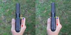 Trigger finger placement: pad (left) and first joint (right). Think of your finger as a lever. The blue dot is your pivot point or fulcrum. ...