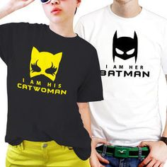 "Couple T-shirts set ""Batman and Catwoman"" set of 2 couple T-shirts Batman Tshirt Catwoman Tshirt set of 2 couple shirts 100% cotton"
