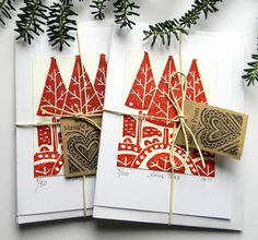 Lino Print Christmas Cards, by Mangle Prints Christmas Art, Handmade Christmas, Xmas Cards, Holiday Cards, Gravure Illustration, Karten Diy, Design Graphique, Christmas Illustration, Tampons