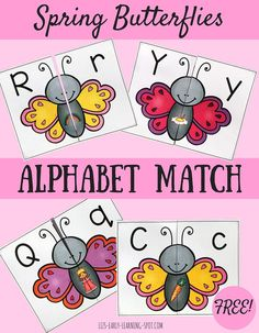 Spring Butterflies Alphabet Match - free printable to use in Spring