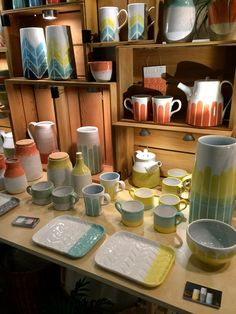 Heather of Dahlhaus had a really nice booth for her ceramics using handmade wooden containers she picked up in the interior this year.