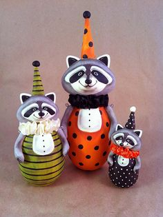 Adorable Paperclay Raccoons