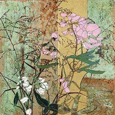 Robert Kushner, 'Sweet Pea' - oil & acrylic on canvas with gold leaf Art Floral, Robert Kushner, Japon Illustration, Guache, Botanical Art, Painting Inspiration, Altered Art, Collage Art, Flower Art