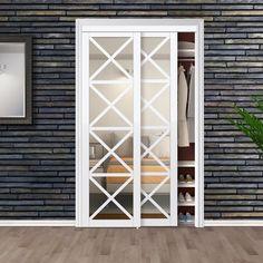 Erias Home Designs Mirrored Manufactured Wood Glass Lace Sliding Closet Door Size: Mirror Closet Doors, Custom Door, Pivot Doors, Bifold Doors, Sliding Closet Doors, Laundry Room Doors, Bifold Closet Doors, Door Design, Wood Glass