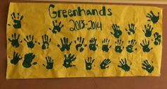 At our green hand meeting we made the freshman put green paint on their hand, put it in the poster, and then write their name so when the Placer ffa banquet came up we put it on the wall for the memories! Big hit!