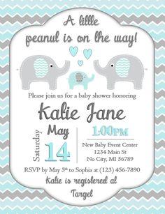 Elephant Baby Shower Invitation Baby Blue and Gray Chevron