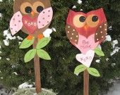 Valentine's Day Owl signs - Outdoor - Lawn Ornaments - Wood