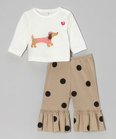 Take a look at this Off-White Dachshund Top & Khaki Ruffle Pants - Infant & Toddler by Victoria Kids on #zulily today!