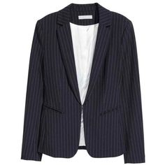 Fitted Jacket $49.99 via Polyvore featuring outerwear, jackets, woven jacket, dark blue jacket, fitted jacket и lapel jacket