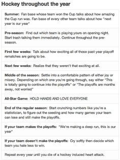 Haha! So true. Especially the end of the regular season.....Yes!!!