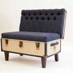 Re-purposed trunk/sofa - we could probably make the seat lift up so that we can still use the storage underneath