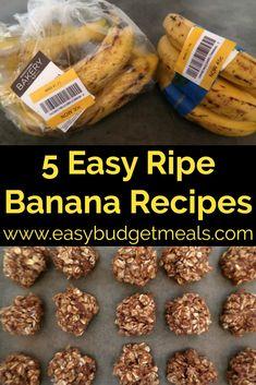 What To Do With Ripe Bananas – 5 Easy ripe banana recipes – including no bake breakfast sweet treats, pancakes, cookies and oat ideas. Easy Ripe Banana Recipe, Banana Recipes No Bake, Recipe Using Ripe Bananas, Ripe Banana Recipes Healthy, Recipes Using Bananas, Frozen Banana Recipes, Banana Dessert Recipes, Frozen Banana Bites, Healthy Dessert Recipes