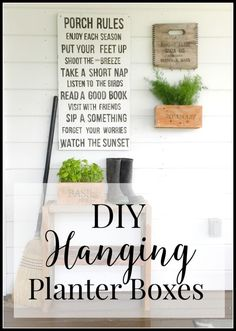 Hanging planter boxes are easier than you think. This is a great project for beginner DIY enthusiasts. These are a great addition to your porch decor. Hanging Planter Boxes, Wooden Planters, Diy Planters, Planter Ideas, Clay Pots, Porch Decorating, Decorating Ideas, Container Gardening, Repurposed