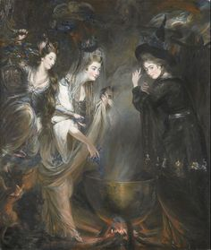 The Three Witches from Shakespeare's Macbeth by Daniel Gardner, 1775. © National Portrait Gallery, London. Georgiana, Duchess of Devonshire and Elizabeth Lamb, Viscountess Melbourne – the most famous political hostesses and society beauties of their day – are shown gathered around the witches' cauldron alongside their friend, the sculptor Anne Seymour Damer.