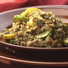 Lentil & Bulgur Pilaf with Green & Yellow Squas - Fitnessmagazine.com