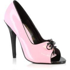 Ellie Shoes Pink & Black Mimi Pump ($16) ❤ liked on Polyvore