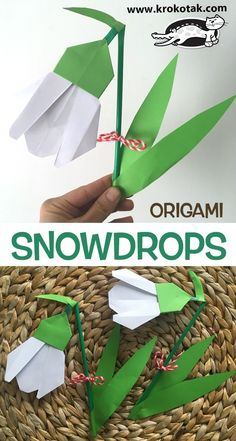 Crafts: Recycled Craft, Penguin Puffy Paint, Paper Chef's Hat, Origami Snowdrops, Illuminated Initial Paper Crafts For Kids, Book Crafts, Preschool Crafts, Easter Crafts, Diy For Kids, Paper Butterflies, Paper Flowers, Easter Activities, Activities For Kids