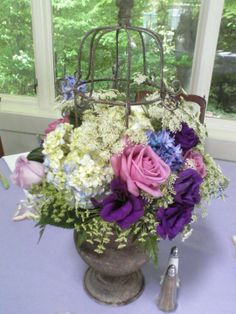 Wedding Centerpiece : Antique Bird Cage Urn with Hydrangea, Hyacinth, Lisianthus,  and Roses