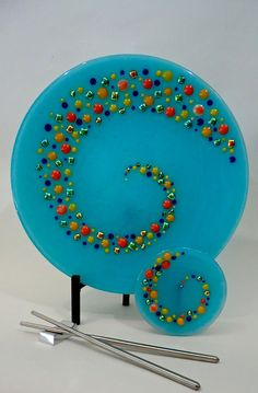 Sky blue glass sushi and wasabi plates with raised dichroic and frit ball dots. -by Sheryl Rivera