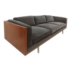 Milo Baughman Attributed Mid-Century Modern Wood Tuxedo Sofa Offered for sale is a Mid-Century Modern wood tuxedo sofa supported by chrome feet. Mid Century Couch, Mid Century Modern Sofa, Milo Baughman, Living Room Sofa, Living Room Furniture, Unique Sofas, Wood Sofa, Diy Sofa, Sofa Furniture