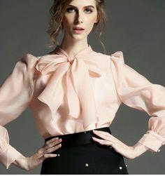 Sheer silk chiffon bow blouse