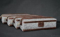 Groomsmen Gift bag/Felt & Waxed Leather Men's Toiletry Bag/Men's shaving bag/Coffee Dopp Kit /Valentines Gift for Him / FREE PERSONALIZATION by OplichLeatherGoods on Etsy
