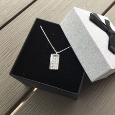 Silver Rectangle Necklace,Silver Rectangle Pendant,Silver Rectangle Charm,Sterling Silver Chain,Solid Silver,Woven Silver Necklace,Gift by JewelleryTreeGifts on Etsy