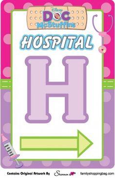 Plantilla gratis de señalización de hospital para fiesta Doctora Juguetes…