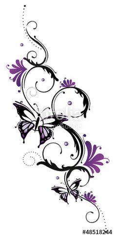 """Laden Sie den lizenzfreien Vektor """"Ranke, flora, Blumen, Blüten, Schmetterling, lila, violett"""" von christine krahl zum günstigen Preis auf Fotolia.com herunter. Stöbern Sie in unserer Bilddatenbank und finden Sie schnell das perfekte Stockbild für Ihr Marketing-Projekt!"""