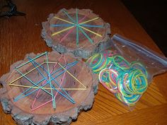 Homemade Tool for Fine Motor Skills - Aren't they cool!First she sanded them to make them smooth and then she sprayed them with some kind of varnish and hammered nails in them. She found a huge bag of rubber bands at the dollar store and portioned out some for me:)
