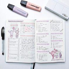 bullet journal spread pink, cactus
