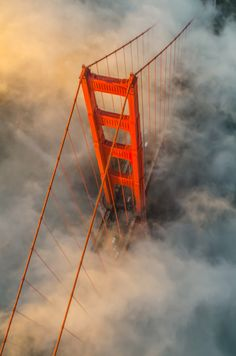 Golden Gate Bridge at Sunset with the San Francisco Fog