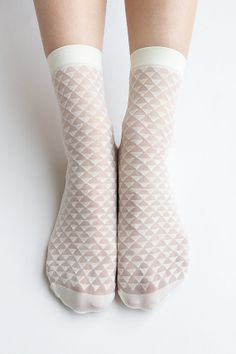 Women New Hezwagarcia Sheer Triangle Pattern Cover See Through Casual Ivory Intimate Ankle Socks Stocking