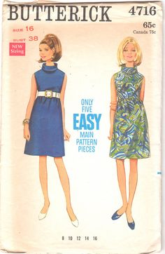 Butterick 4716 1960s Misses Mod A Sleeveless Roll Collar Dress womens vintage sewing pattenr  by mbchills