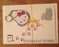 Glitter Kitty - Homemade pinback keychain on  homemade card.