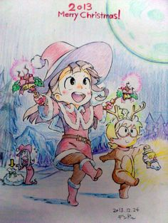 Little Witch Academia Christmas illustration by Dendō Hisao