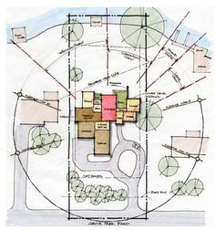 Site analysis with preliminary bubble diagram Bubble Diagram Architecture, Architecture Concept Drawings, Landscape Architecture Drawing, Architecture Graphics, Conceptual Sketches, Conceptual Design, Villa Architecture, Origami Architecture, Tropical Architecture