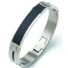 Nickel free - Hypoallergenic Jewellery - Boccia Titanium Bangle Black Enamel - Photo