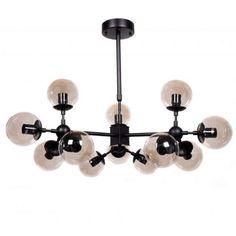 Żyrandol LAMPA wisząca ZODIAK LDP 160 - 12 Lumina Deco industrialna OPRAWA zwis kule balls herbaciany