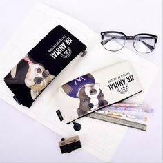 """""""White Cat"""" Pencil Bag Canvas Zip Around Big Pocket Cute Stationery Case Cute Pencil Case, Cute School Supplies, Pencil Bags, Stationery Design, Canvas Material, Sunglasses Case, Pouch, Hand Writing, Study"""