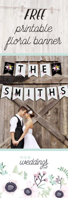 Free wedding #printable floral bunting banner with every letter and number on a separate page! Perfect for a wedding!