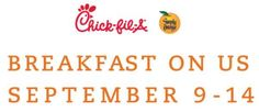 FREE Breakfast at Chick-fil-a! Make reservation starting 8/29/13!