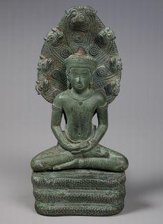 Buddha sheltered by a naga, Angkor period, 12th century Cambodia - Bronze
