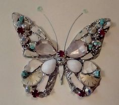 Rare mixed media bejewelled butterfly art card greeting card