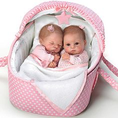 Waltraud Hanl Lifelike Lullaby Twins Baby Girl Doll Set Featuring Heather And Hannah by The Ashton-Drake Galleries Meet Heather and Hannah from the Lullaby Baby Doll Set, Real Baby Dolls, Baby Doll Nursery, Realistic Baby Dolls, Newborn Baby Dolls, Twin Baby Girls, Twin Babies, Twins, Crowns